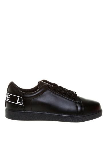 Limon Company 28Cancer Baskı Detaylı Suni Deri Bağcıklı Kadın Yürüyüş Ayakkabısı Siyah